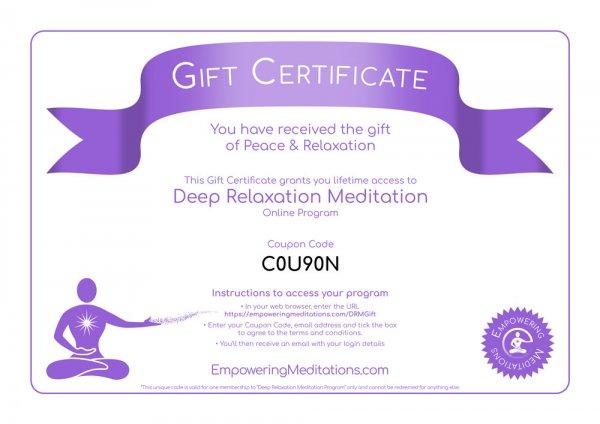 Deep Relaxation Meditation Gift Certificate