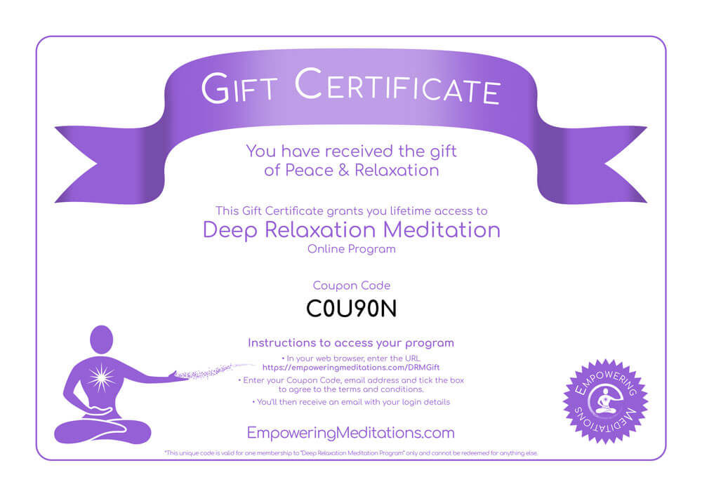 Deep Relaxation Meditation Gift Certificate